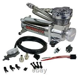Airmaxxx 480 Chrome Air Compressor Kit with Air Intake Filter Relocator 180 psi