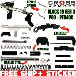 CROSS ARMORY UPGRADED Upper Lower Frame Slide Parts Kit for Glock 19 PF940C P80
