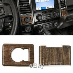 For Ford 2015+ F150 Interior Decor Cover Trims Parts Whole Kit 17pc Wood Grain