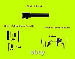 For Glock 19 Gen 3 9mm Barrel + Upper Slide Completion Kit + Lower Parts Kit G19