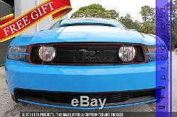GTG 2010 2012 Ford Mustang GT 3PC Gloss Black Upper Overlay Billet Grille Kit