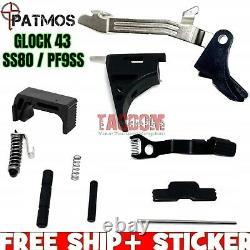 PATMOS Slide Upper / Lower Parts Kit For Glok 43 Frame 9mm & P80 PF9SS SS 80