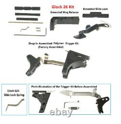 Upper Slide Parts Kits Glock G26 Gen 1-3 + Lower Parts Kits Completion+Free Tool